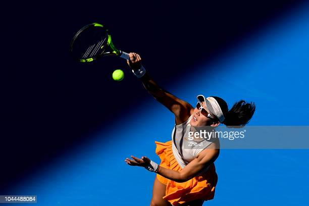 Zheng Saisai of China serves against Sloane Stephens of the United States during their Women's Singles 2nd Round match of the 2018 China Open at the...