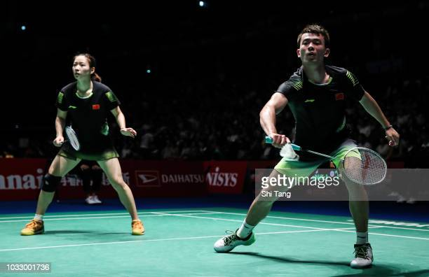 Zheng Siwei and Huang Yaqiong of China compete in the Mixed Doubles quarter finals against Zhang Nan and Li Yinhui of China on day four of the Yonex...