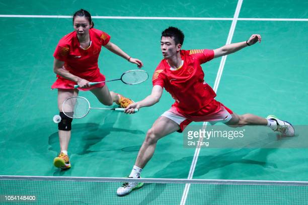 Zheng Siwei and Huang Yaqiong of China compete in the Mixed Doubles semi finals match against Yuta Watanabe and Arisa Higashino of Japan on day five...