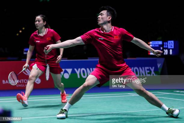 Zheng Siwei and Huang Yaqiong of China compete in the Mixed Doubles second round match against Ayane Kurihara and Kohei Gondo of Japan during day two...