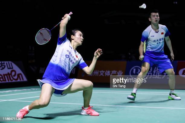 Zheng Siwei and Huang Yaqiong of China compete in the Mixed Doubles semi finals match against Goh Soon Huat and Lai Shevon Jemie of Malaysia on day...