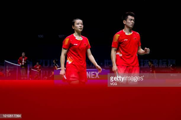 Zheng Siwei and Huang Yaqiong of China react in the Mixed Doubles second round match against Evgenij Dremin and Evgenia Dimova of Russia on day two...