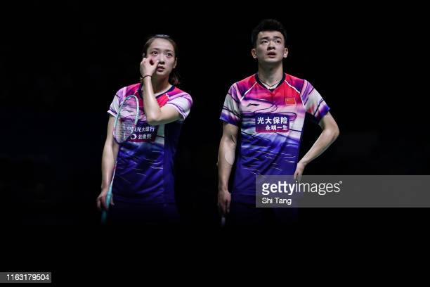 Zheng Siwei and Huang Yaqiong of China react in the Mixed Doubles semi finals match against Tan Kian Meng and Lai Pei Jing of Malaysia on day five of...