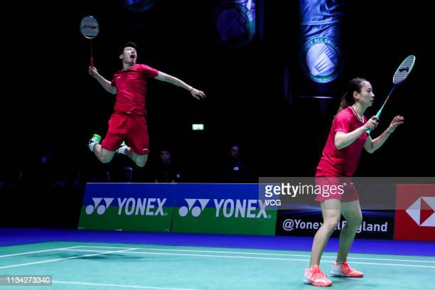 Zheng Siwei of China and Huang Yaqiong of China compete in the Mixed Doubles second round match against Kohei Gondo of Japan and Ayane Kurihara of...
