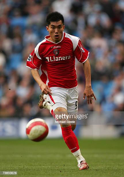 Zheng Zhi of Charlton Athletic in action during the Barclays Premiership match between Manchester City and Charlton Athletic at The City of...