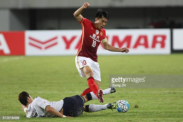 Zheng Zhi of Guangzhou Evergrande in action during AFC Champions League Group H match between Guangzhou Evergrande FC and Pohang Steelers at...