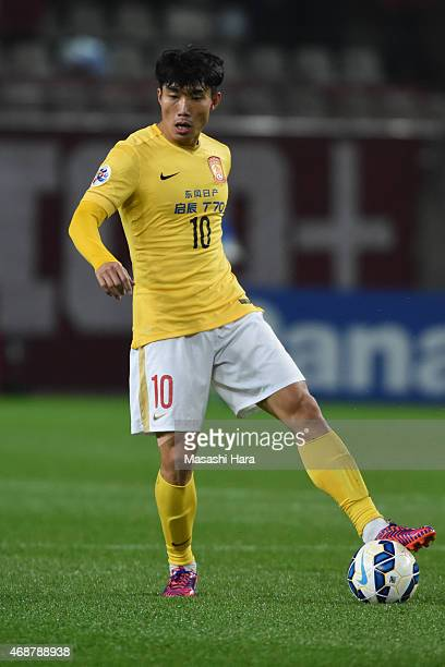 Zheng Zhi of Guangzhou Evergrande in action during the AFC Champions League Group H match between Kashima Antlers and Guangzhou Evergrande at Kashima...