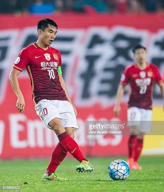Zheng Zhi of Guangzhou Evergrande in action during the AFC CHampions League match between Guangzhou Evergrande and Urawa Red Diamonds on March 16...