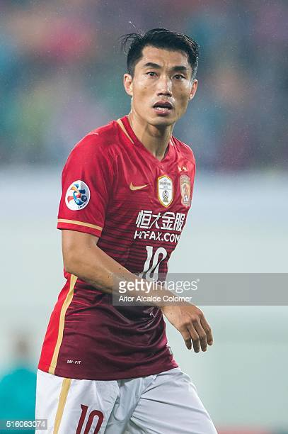 Zheng Zhi of Guangzhou Evergrande looks on during the AFC CHampions League match between Guangzhou Evergrande and Urawa Red Diamonds on March 16 2016...