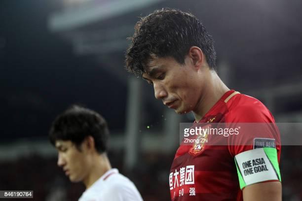 Zheng Zhi of Guangzhou Evergrande looks on during the AFC Champions League 2017 Quarterfinals 2nd leg between Shanghai SIPG and Guangzhou Evergrande...