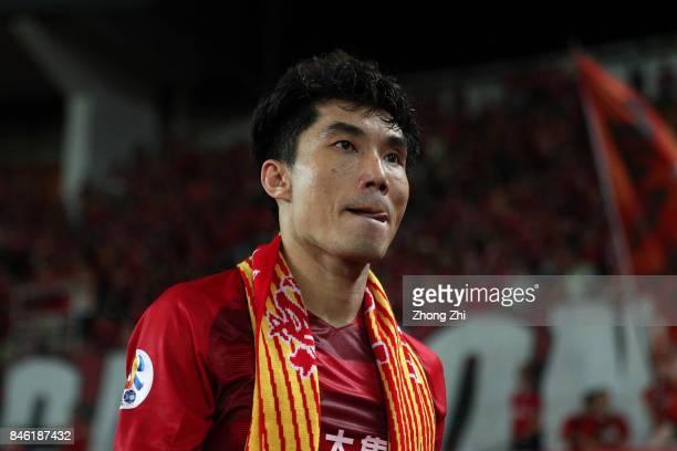 Zheng Zhi of Guangzhou Evergrande reacts after the AFC Champions League 2017 Quarterfinals 2nd leg between Shanghai SIPG and Guangzhou Evergrande at...