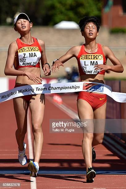 Zhenhia MA of China wins the woman's 10Km Race Walk as her team mate Li MA arrives second at IAAF World Race Walking Team Championship Rome 2016 on...