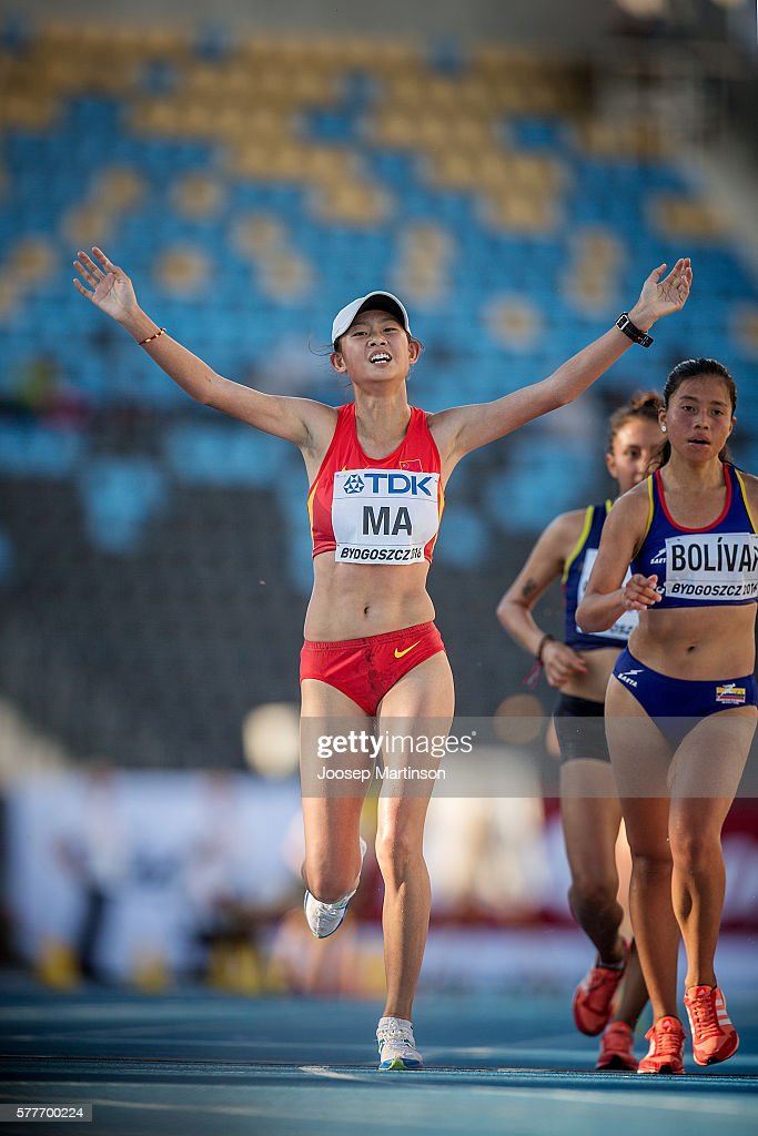 Zhenxia Ma from China celebrates in women's 20 kilometres walking final during the IAAF World U20 Championships at the Zawisza Stadium on July 19, 2016 in Bydgoszcz, Poland.