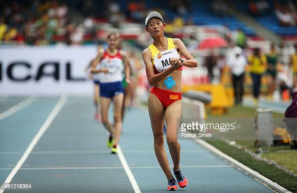 Zhenxia Ma of China in action during the Girls 5000 Meters Race Walk Final on day four of the IAAF World Youth Championships Cali 2015 on July 18...