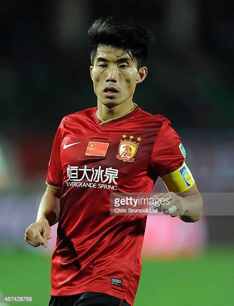 Zhi Zheng of Guangzhou Evergrande FC in action during the FIFA Club World Cup Semi Final match between Guangzhou Evergrande FC and Bayern Muenchen at...