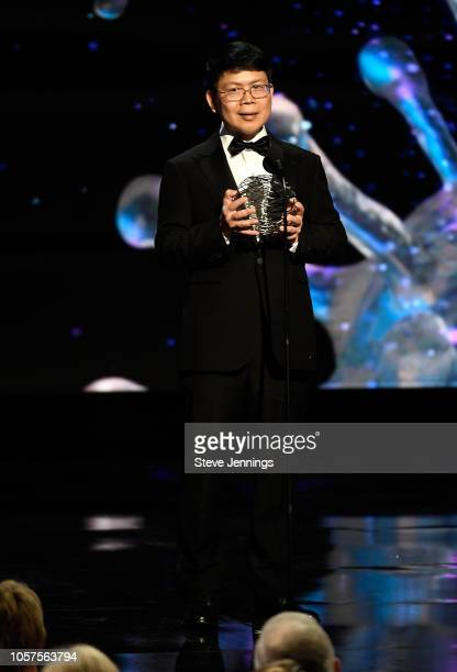 Zhijian James Chen speaks onstage at the 2019 Breakthrough Prize at NASA Ames Research Center on November 4 2018 in Mountain View California