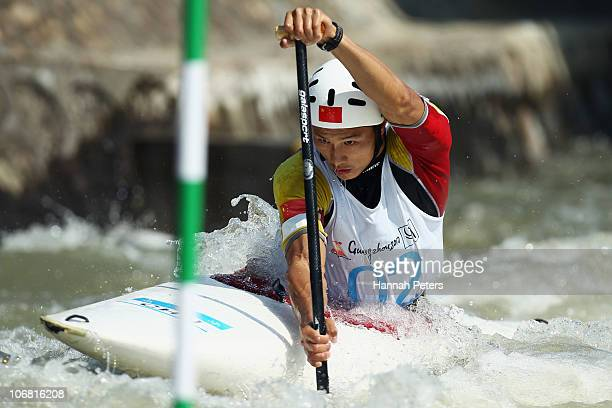 Zhiqiang Teng of China competes in the Men's Canoe Singles Final at the International Rowing Centre during day two of the 16th Asian Games Guangzhou...