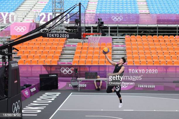 Zhiting Zhang of Team China practices in 3x3 basketball at Aomi Urban Sports Park ahead of the Tokyo 2020 Olympic Games on July 22, 2021 in Tokyo,...