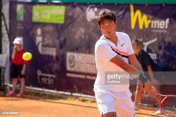 Zhizhen Zhang during match between Zhizhen Zhang and Manuel Sanchez during day 1 at the Interzionali di Tennis Citt dell'Aquila in L'Aquila, Italy,...