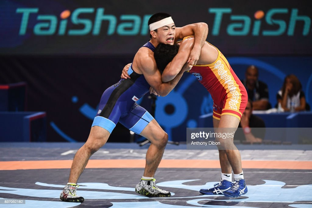 Zholchubekov K of kyrgyzstan and Fumita K of Japan during the Men's 59 Kg Greco-Roman competition during the Paris 2017 World Championships at AccorHotels Arena on August 22, 2017 in Paris, France.