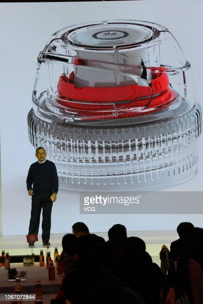 Zhong Shanshan, the chairman of Nongfu Spring Company, attends the Nongfu Spring new product launch conference on February 1, 2015 in Baishan, Jilin...