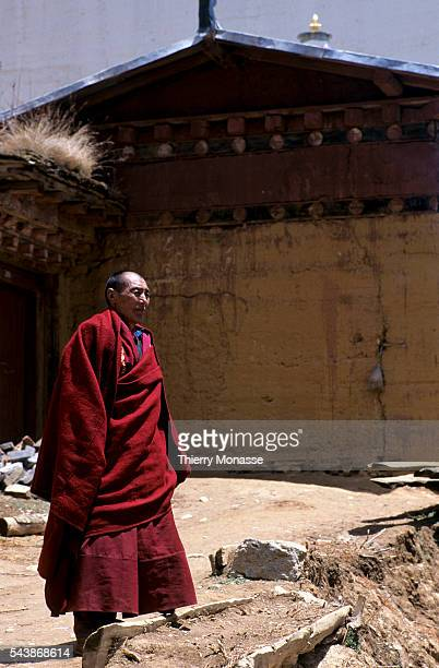 Zhongdian, Shangri-La, County, People's Republic of China, April 1997. -- A Monk in Songzanlin Temple