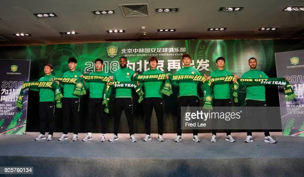 Zhongguo ChiHuan LiuYanqiang HuCedric BakambuWenyi ChiZiming WangShihao WeiJonathan Viera Ramos of Beijing Guoan FC attend a press conference at...