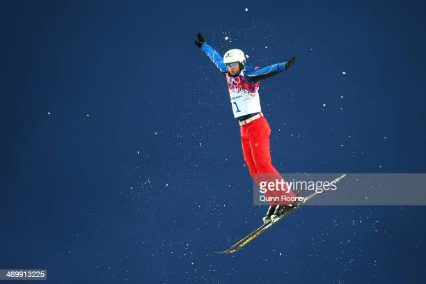 Zhongqing Liu of China competes in the Freestyle Skiing Men's Aerials Qualification on day ten of the 2014 Winter Olympics at Rosa Khutor Extreme...