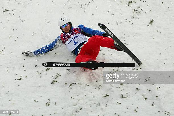 Zhongqing Liu of China crashes in the Freestyle Skiing Men's Aerials Qualification on day ten of the 2014 Winter Olympics at Rosa Khutor Extreme Park...
