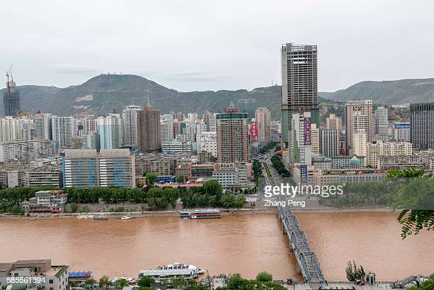 Zhongshan Bridge also called the first bridge over the Yellow River first built in 1907 now is a tourist landmark of Lanzhou city