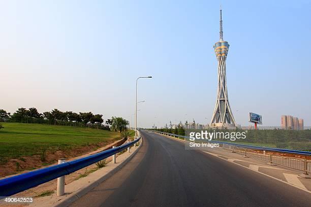 zhongyuan tower tv tower in henan - zhengzhou stock pictures, royalty-free photos & images