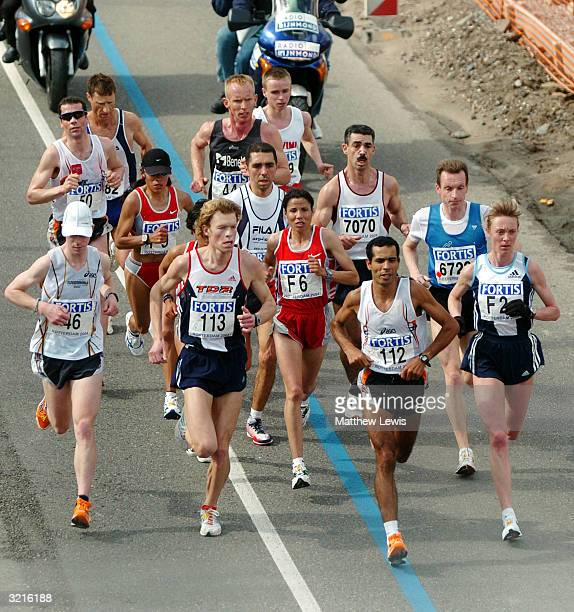 Zhor El Kamch of Morocco leads the Womens marathon during the Rotterdam Marathon on April 4 2004 in Rotterdam Netherland