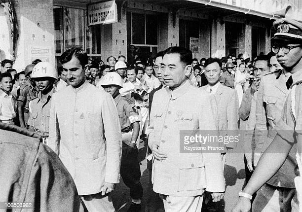 Zhou EnLai Chief Of The Chinese Government And The Chinese Delegation Arrives At The NonAligned Countries Conference On April 17Th 1955