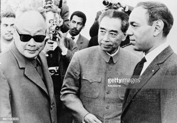 Zhou Enlai , Premier of the People's Republic of China, arrives in Morocco during his tour of the Middle East and Africa, December 1963. From left to...