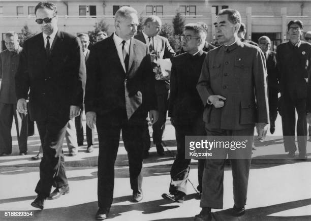 Zhou Enlai Premier of the People's Republic of China meets Russian statesman Alexei Kosygin at Peking Airport 11th September 1969