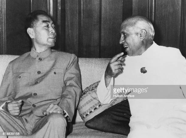 Zhou Enlai Premier of the People's Republic of China with Indian Prime Minister Jawaharlal Nehru during a visit to India 21st April 1960