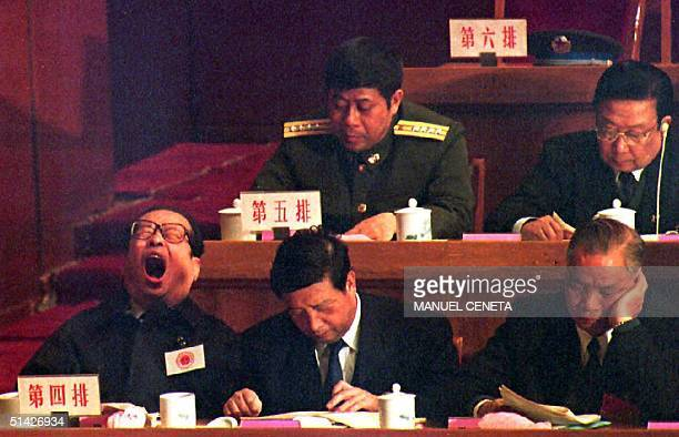 Zhou Nan director of the Xinhua News Agency in Hong Kong which is the defacto Chinese consulate at the British territory yawns while other National...