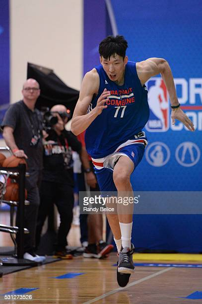 Zhou Qi completes a 3/4 Court Sprint during the 2016 NBA Draft Combine on May 12 2016 at the Quest Multisport in Chicago Illinois NOTE TO USER User...