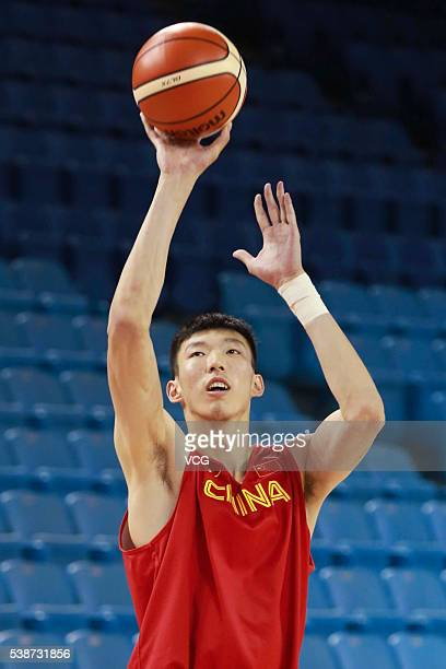 Zhou Qi of China men's national basketball team in action during training session for the 2016 Rio Olympic Games on June 8 2016 in Changchun Jilin...