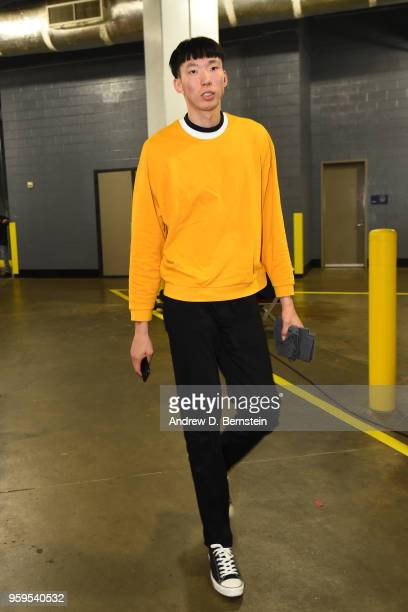 Zhou Qi of the Houston Rockets arrives before Game One of the Western Conference Finals against the Golden State Warriors during the 2018 NBA...