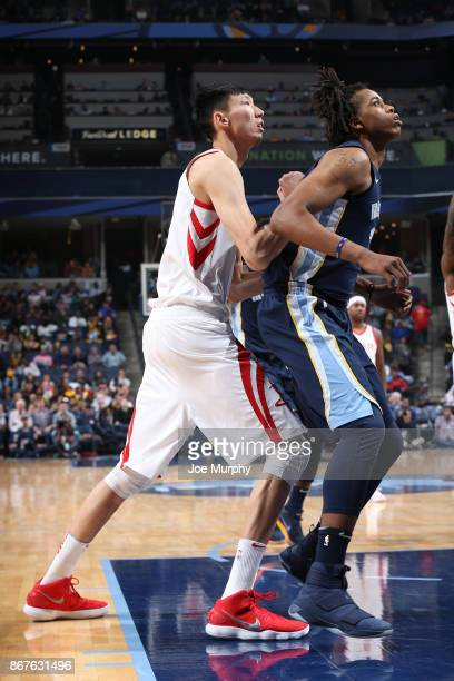 Zhou Qi of the Houston Rockets battles for position against the Memphis Grizzlies on October 28 2017 at FedExForum in Memphis Tennessee NOTE TO USER...