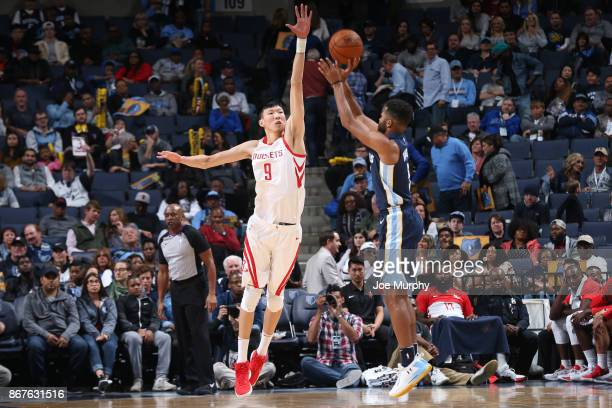 Zhou Qi of the Houston Rockets defends against the Memphis Grizzlies on October 28 2017 at FedExForum in Memphis Tennessee NOTE TO USER User...
