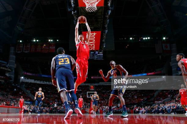 Zhou Qi of the Houston Rockets dunks the ball against the Utah Jazz on November 5 2017 at the Toyota Center in Houston Texas NOTE TO USER User...