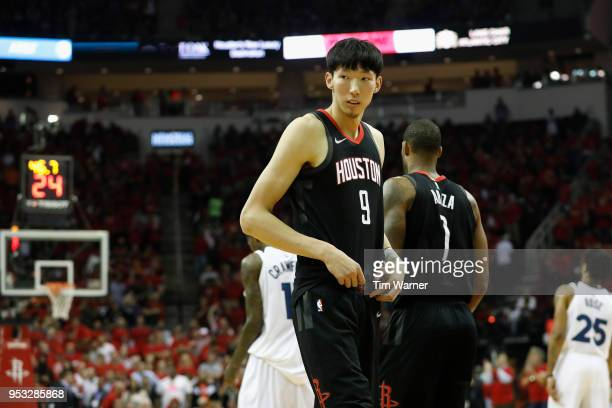 Zhou Qi of the Houston Rockets enters the game in the fourth quarter during Game Five of the first round of the 2018 NBA Playoffs against the...