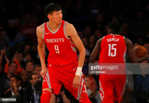 Zhou Qi of the Houston Rockets in action against the New York Knicks at Madison Square Garden on November 1 2017 in New York City The Rockets...