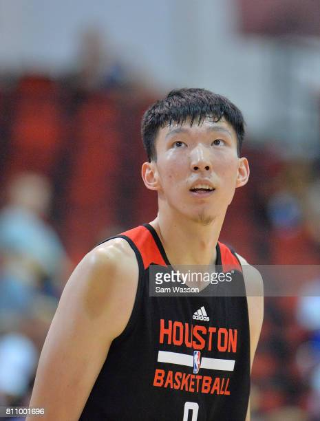 Zhou Qi of the Houston Rockets looks on against the the Cleveland Cavaliers during the 2017 Summer League at the Cox Pavilion on July 8 2017 in Las...