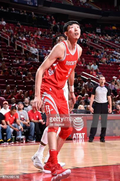 Zhou Qi of the Houston Rockets looks on against the Toronto Raptors on November 14 2017 at the Toyota Center in Houston Texas NOTE TO USER User...