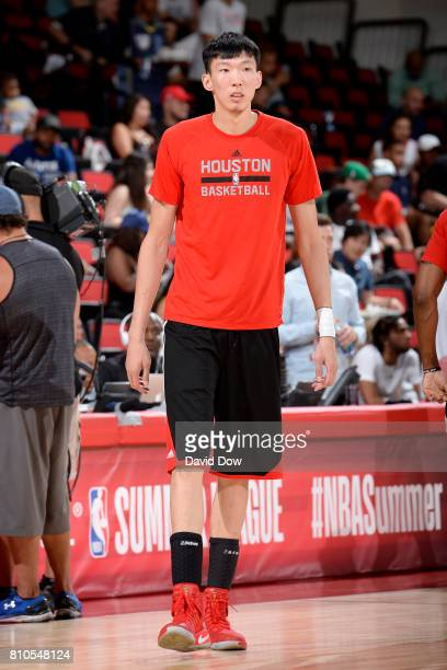 Zhou Qi of the Houston Rockets looks on before the game against the Denver Nuggets during the 2017 Las Vegas Summer League on July 7 2017 at the Cox...