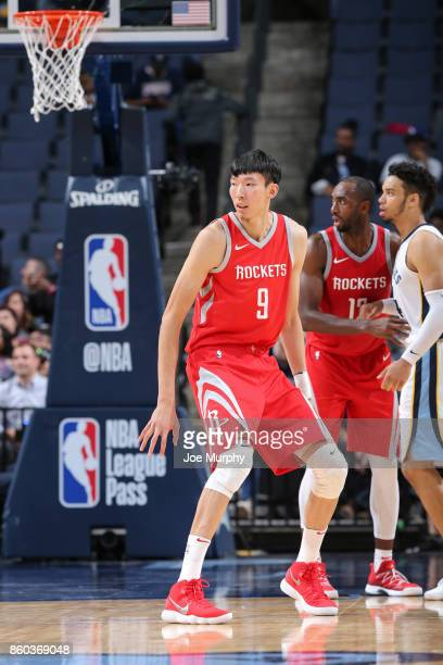 Zhou Qi of the Houston Rockets looks on during a preseason game against the Memphis Grizzlies on October 11 2017 at FedExForum in Memphis Tennessee...