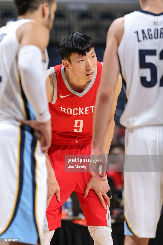 Zhou Qi #9 of the Houston Rockets looks on during a preseason game against the Memphis Grizzlies on October 11, 2017 at FedExForum in Memphis, Tennessee.